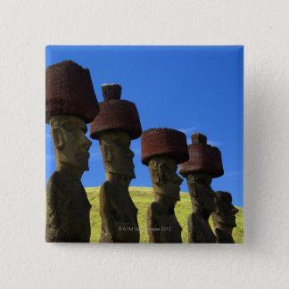 文化的な彫像、イースター島、ポリネシア 5.1CM 正方形バッジ