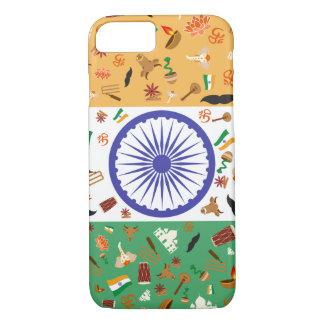 文化項目が付いているインドの旗 iPhone 8/7ケース