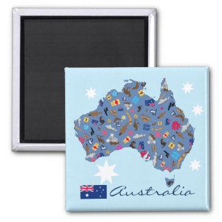 文化項目が付いているオーストラリアの地図 マグネット
