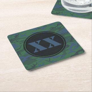 文字が付いているたそがれの緑のカムフラージュのコースター スクエアペーパーコースター