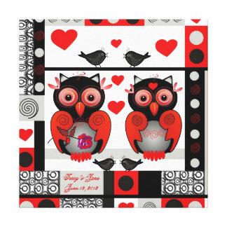 文字が付いているロマンチックな結婚式またはバレンタインのプリント キャンバスプリント