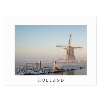 文字が付いている日の出の郵便はがきの雪の風車 ポストカード