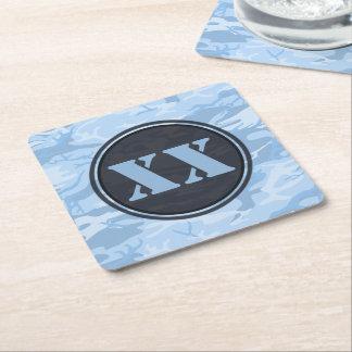 文字が付いている淡いブルーのカムフラージュのコースター スクエアペーパーコースター