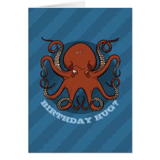 文字が付いている誕生日の抱擁タコの触手の漫画 カード