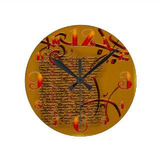文字のハロウィンの小さいRunesおよび時計 ラウンド壁時計