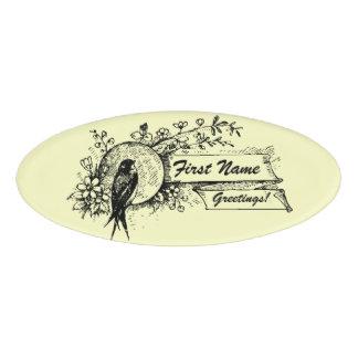 文字のリボンとの鳥そして敏感な花柄 名札