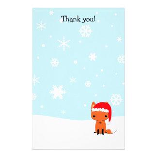 文字を入れます静止したキツネのクリスマスにありがとう 便箋