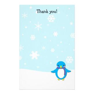 文字を入れます静止したペンギンのクリスマスにありがとう 便箋