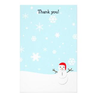 文字を入れます静止した雪だるまのクリスマスにありがとう 便箋