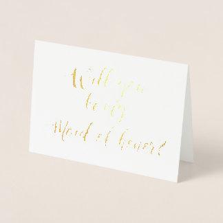 文字を入れられた私のメイド・オブ・オーナー(花嫁付き添い人)手です 箔カード