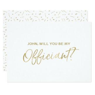 文字を入れられる結婚式のOfficiantの要求|金ゴールド手 12.7 X 17.8 インビテーションカード