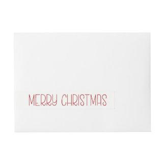 文字を入れられる赤いメリークリスマスシンプルな手 ラップアラウンド宛名ラベル