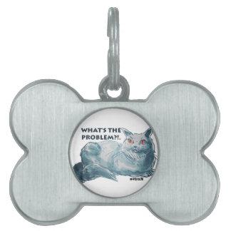 文字を持つクールな灰色猫の絵 ペットネームタグ
