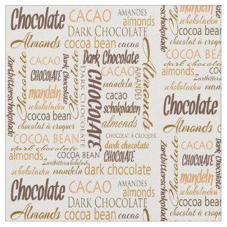 文字デザインなチョコレート、アーモンドおよび暗いチョコレート ファブリック