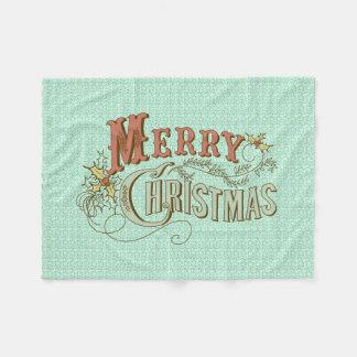 文字デザインなメリークリスマスの空想 フリースブランケット
