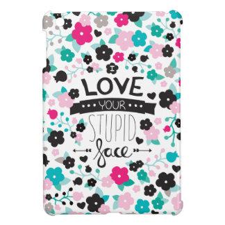 文字デザインな愚かな顔のラブレター愛して下さい iPad MINI カバー