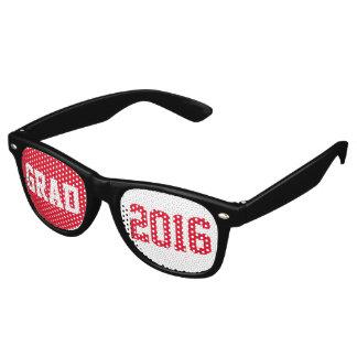文字デザインな赤い及び白人の卒業生2016年 パーティ用サングラス