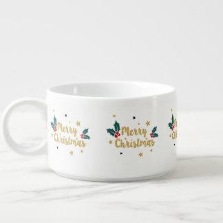 文字デザインな金ゴールドのグリッターのメリークリスマスのモダン チリボウル