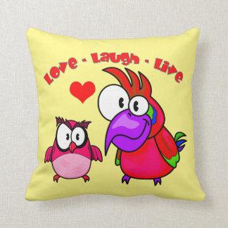文字愛笑いを用いるベクトル漫画の鳥は住んでいます クッション