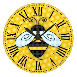 文字Sansぶんぶんうなる《昆虫》マルハナバチおよび蜜蜂の巣アイコン ラージ壁時計