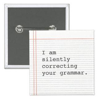 文法ボタンの訂正、カスタムなノートの紙 5.1CM 正方形バッジ