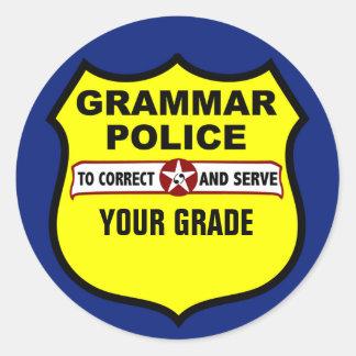 文法警察の先生の等級分けのステッカー ラウンドシール