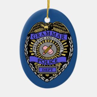 文法警察Deptのバッジの鉛筆消す物 セラミックオーナメント