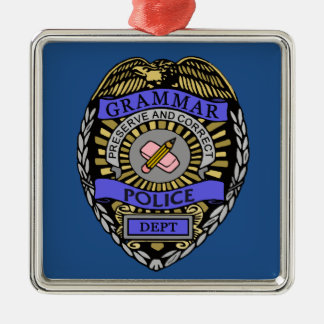 文法警察Deptのバッジの鉛筆消す物 メタルオーナメント