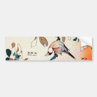 文鳥とコブシ、北斎のブンチョウおよびKobushi、Hokusai バンパーステッカー