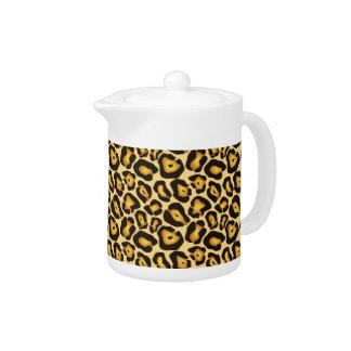 斑点を付けられたジャガーのカムフラージュパターン茶ポット