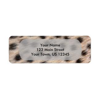 斑点を付けられたチータの毛皮または皮の質のテンプレートを黒くして下さい ラベル