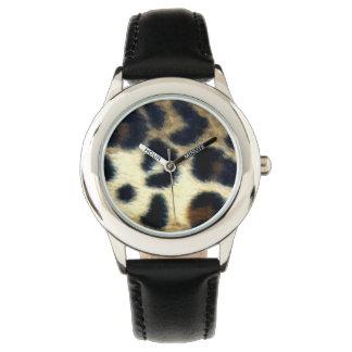 斑点を付けられたヒョウのプリント 腕時計