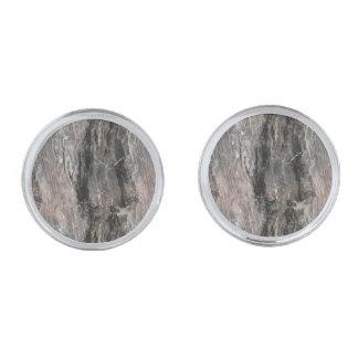 斑点を付けられた灰色の調子の大理石の石 銀色 カフリンク
