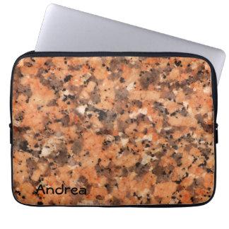 斑点を付けられた石の質の活発なパターンオレンジ黒 ラップトップスリーブ
