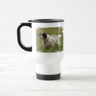 斑点を付けられた英国セッター犬のプラスチックタンブラー トラベルマグ