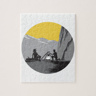 料理のキャンプファイヤーの円の木版画を坐らせるキャンピングカー ジグソーパズル