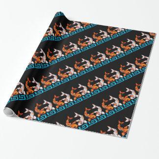 斜めのコイの魚はギフト用包装紙の包装紙を縞で飾ります ラッピングペーパー