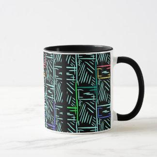 斜めのターコイズはメンフィスの抽象芸術を切ります マグカップ
