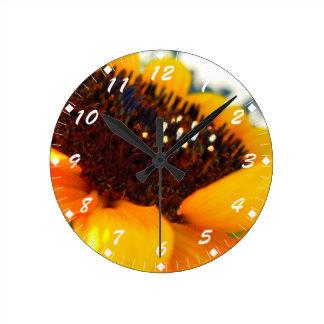 斜めのヒマワリ ラウンド壁時計