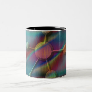 斜めの分子が付いている着色された金属 ツートーンマグカップ