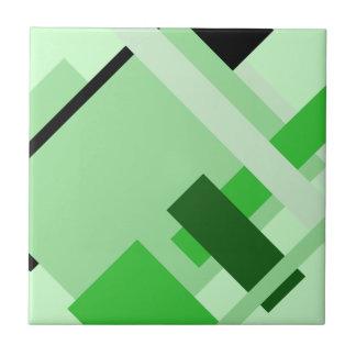 斜めの幾何学的で数々のな緑の陰パターンタイル タイル