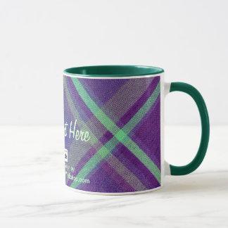 斜めの格子縞、ここのあなたの文字 マグカップ