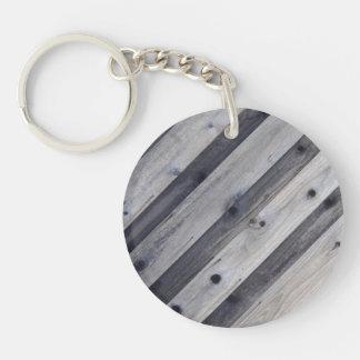 斜めの灰色の木製の塀Keychain キーホルダー