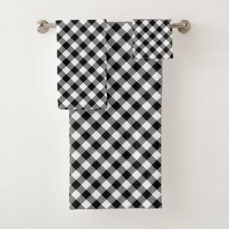 斜めの白黒点検された格子縞タオルセット バスタオルセット