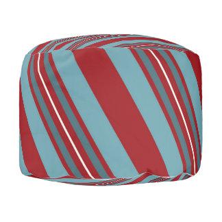 斜めの赤いおよび青い縞 プーフ