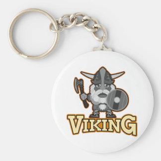 斧および盾との怒っているバイキング キーホルダー