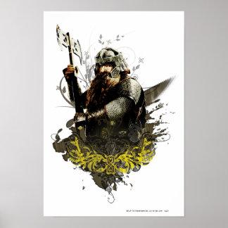 斧のベクトルコラージュとのGimli ポスター