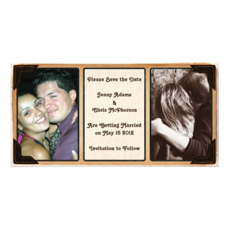 断片的なコーナーは日付の写真の招待状を救います カード