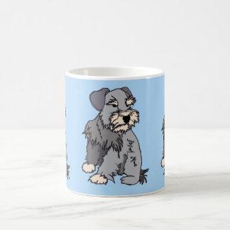断片的なミニチュア・シュナウツァーの青のマグ コーヒーマグカップ