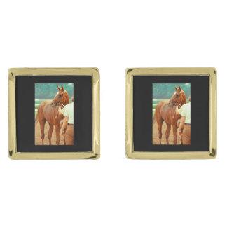 断言された純血種の競馬馬1978年 ゴールド カフスボタン